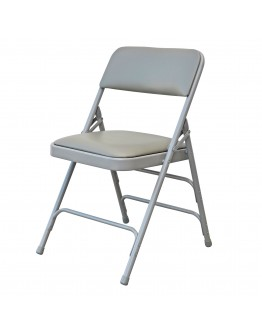 Rhino™ Metal Folding Chair, Vinyl Grey Seat