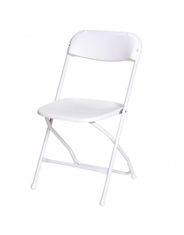 Rhino™ Plastic Folding Chair, White Aluminum Frame, White Seat