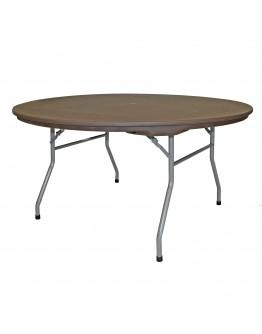 60 Inch Rhino™ Round Resin Folding Table, Brown