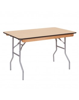 4 Foot Banquet Wood Folding Table, Vinyl Edging