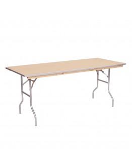 4 Foot Banquet Wood Folding Table, Metal Edging