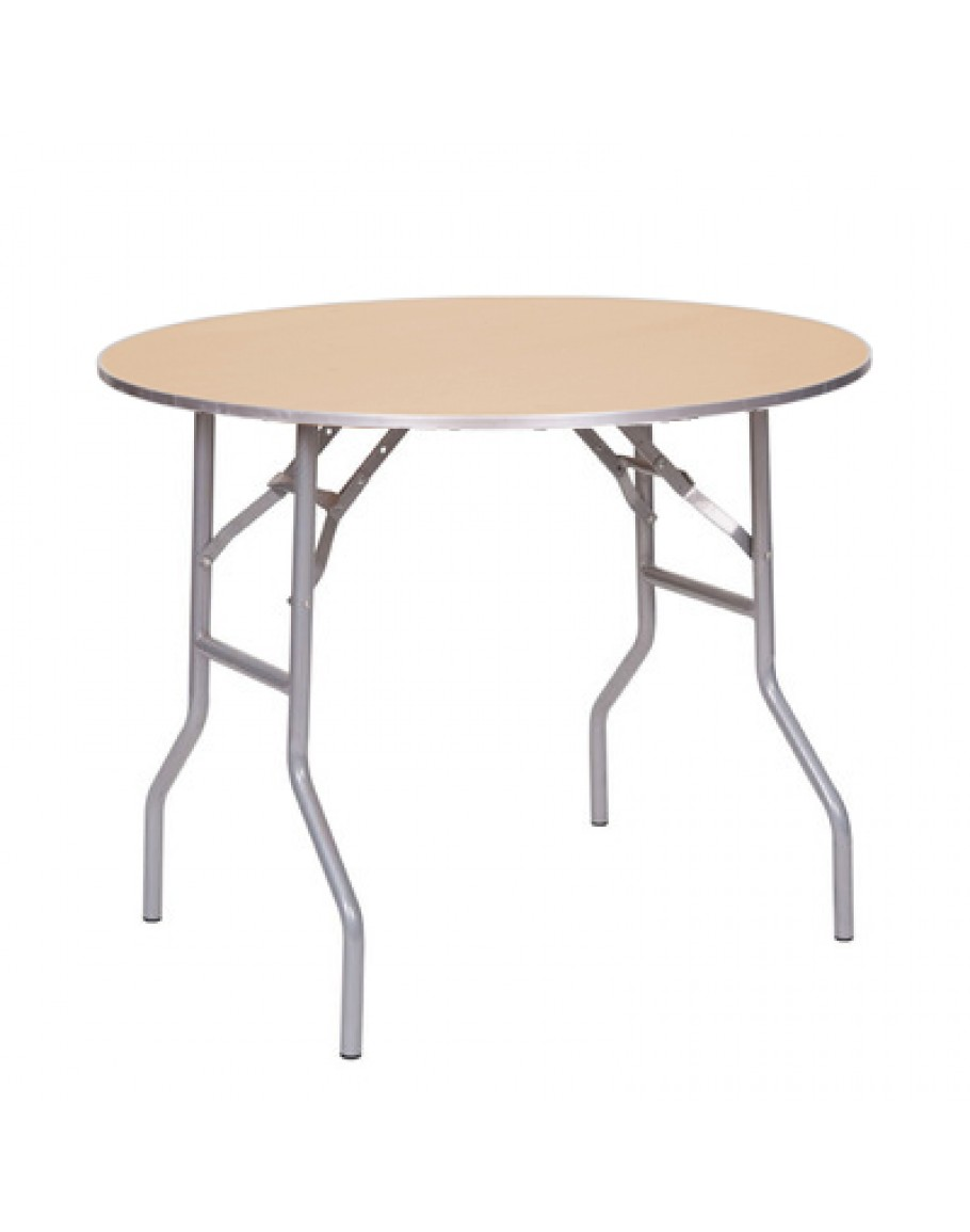 36 inch round table 36 Inch Round Wood Folding Table, Metal Edging 36 inch round table