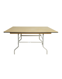 48 Inch Square Wood Folding Table, Metal Edging