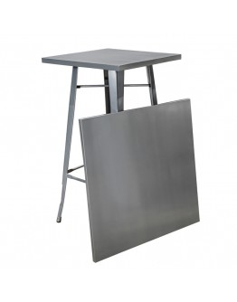 engrom Square Metal Cocktail Table Set, Gunmetal Grey