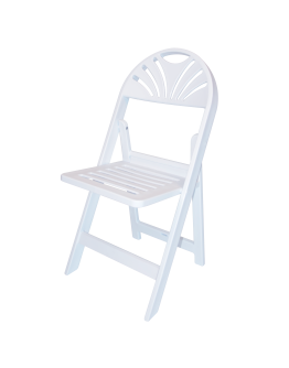 Resin Fan Back Folding Chair, White with Slatted Seat