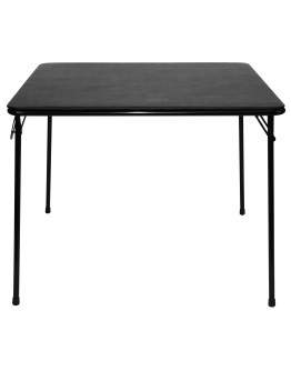 "38"" Square Folding Card and Game Table, Wheelchair Accessible, Black"