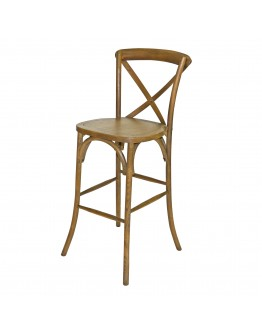 Lucca X-Back Wood Bar Chair, Rustic