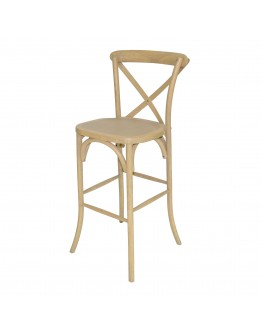 Lucca X-Back Wood Bar Chair, Natural