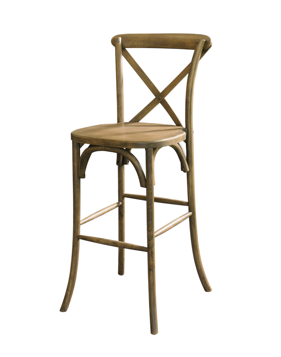 Lucca X Back Wood Bar Chair Rustic