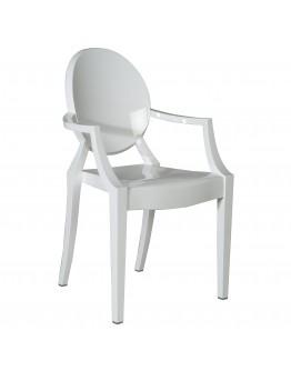 Phantom Resin Chair, Arms, White