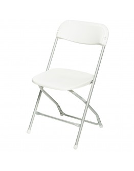 Rhino™ Plastic Folding Chair, Anodized Aluminum Frame, White Seat