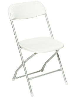 Rhino™ Plastic Folding Chair, Anodized Aluminum Frame, White Seat