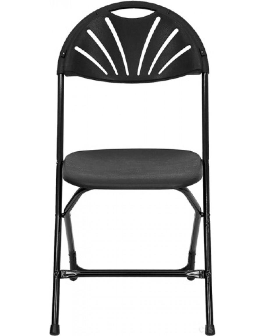 Rhino Fan Back Plastic Folding Chair Metal Frame Black