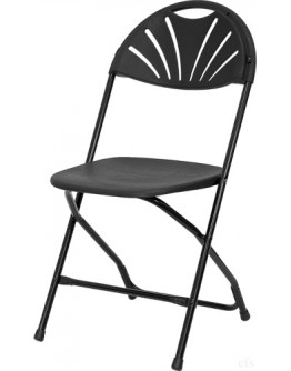 Rhino™ Fan Back Plastic Folding Chair, Metal Frame, Black
