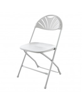 Rhino™ Fan Back Plastic Folding Chair, Metal Frame, White