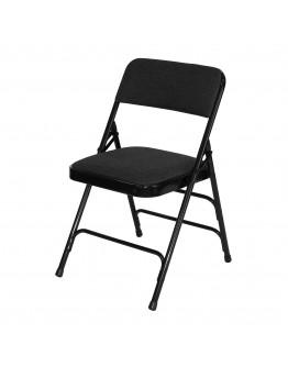 Rhino™ Metal Folding Chair, Fabric Black Seat