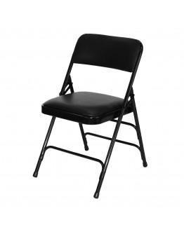 Rhino™ Metal Folding Chair, Vinyl Black Seat