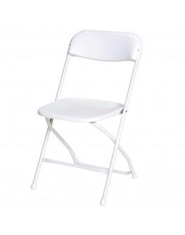 Rhino™ Plastic Folding Chair, Metal Frame, White