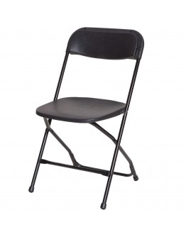 Rhino™ Plastic Folding Chair, Metal Frame, Black