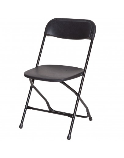 Rhino™ Plastic Folding Chair, Black Aluminum Frame, Black Seat