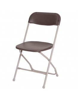 Rhino™ Plastic Folding Chair, Metal Frame, Brown