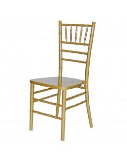 Chiavari Wood Chair, Gold, Ivory Cushion