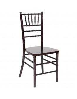 Chiavari Wood Chair, Mahogany, Ivory Cushion