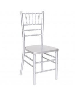 Chiavari Wood Chair, Silver, White Cushion