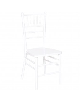 Chiavari Wood Chair, White, White Cushion