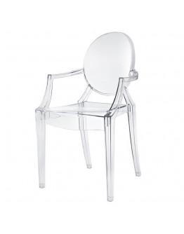 Phantom Resin Chair, Arms, Clear