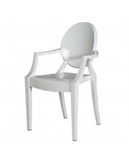 Phantom Resin Chair, Arms, White