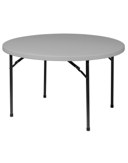 48 Inch Round Plastic Blow Mold Folding Table, Grey