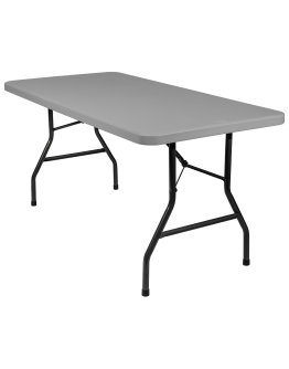 5 Foot Banquet Plastic Blow Mold Folding Table, Grey