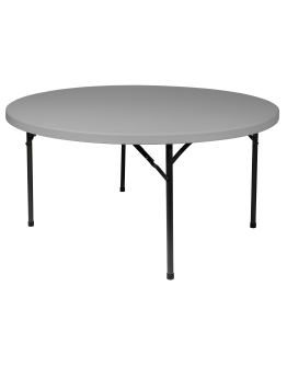 60 Inch Round Plastic Blow Mold Folding Table, Grey