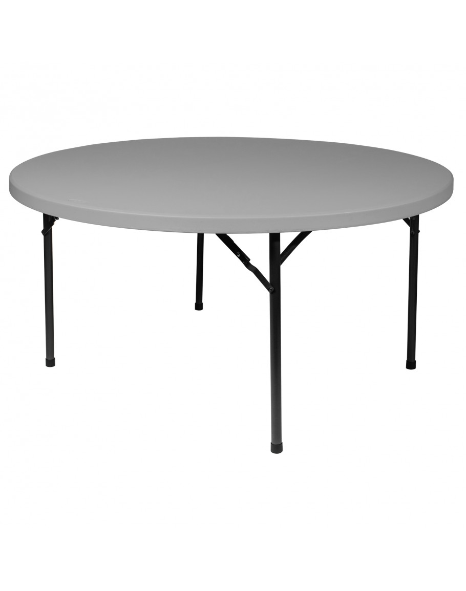 - 72 Inch Round Plastic Blow Mold Folding Table For Sale
