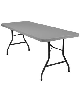 6 Foot Banquet Plastic Blow Mold Folding Table, Grey
