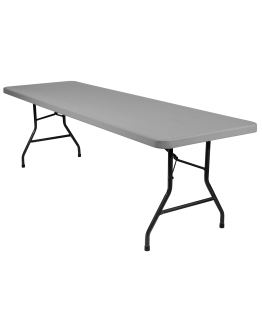 8 Foot Banquet Plastic Blow Mold Folding Table, Grey