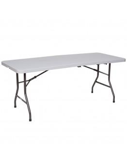 6 Foot Banquet Plastic Blow Mold Half Folding Table, Grey