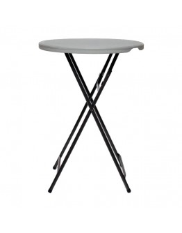 32 Inch Round Resin Cocktail Table Folding Legs, Grey