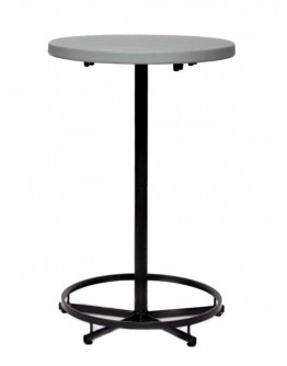 27 Inch Round Resin Cocktail Table, Grey