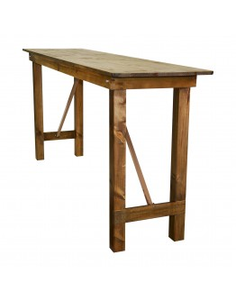 "96"" x 24"" Banquet Pine Wood Farm Table, Folding Legs, Rustic"