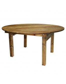 "60"" Round Pine Wood Farm Table, Folding Legs, Rustic"