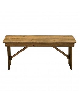 "40"" x 12"" Pine Wood Farm Bench, Folding Legs, Rustic"