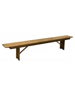 "96"" x 12"" Pine Wood Farm Bench, Folding Legs, Rustic"