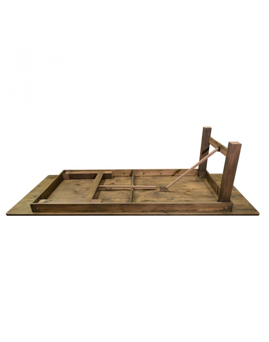 108 X 40 Banquet Pine Wood Farm Table Folding Legs