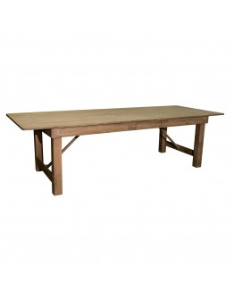 "108"" x 40"" Banquet Pine Wood Farm Table, Folding Legs, Rustic"