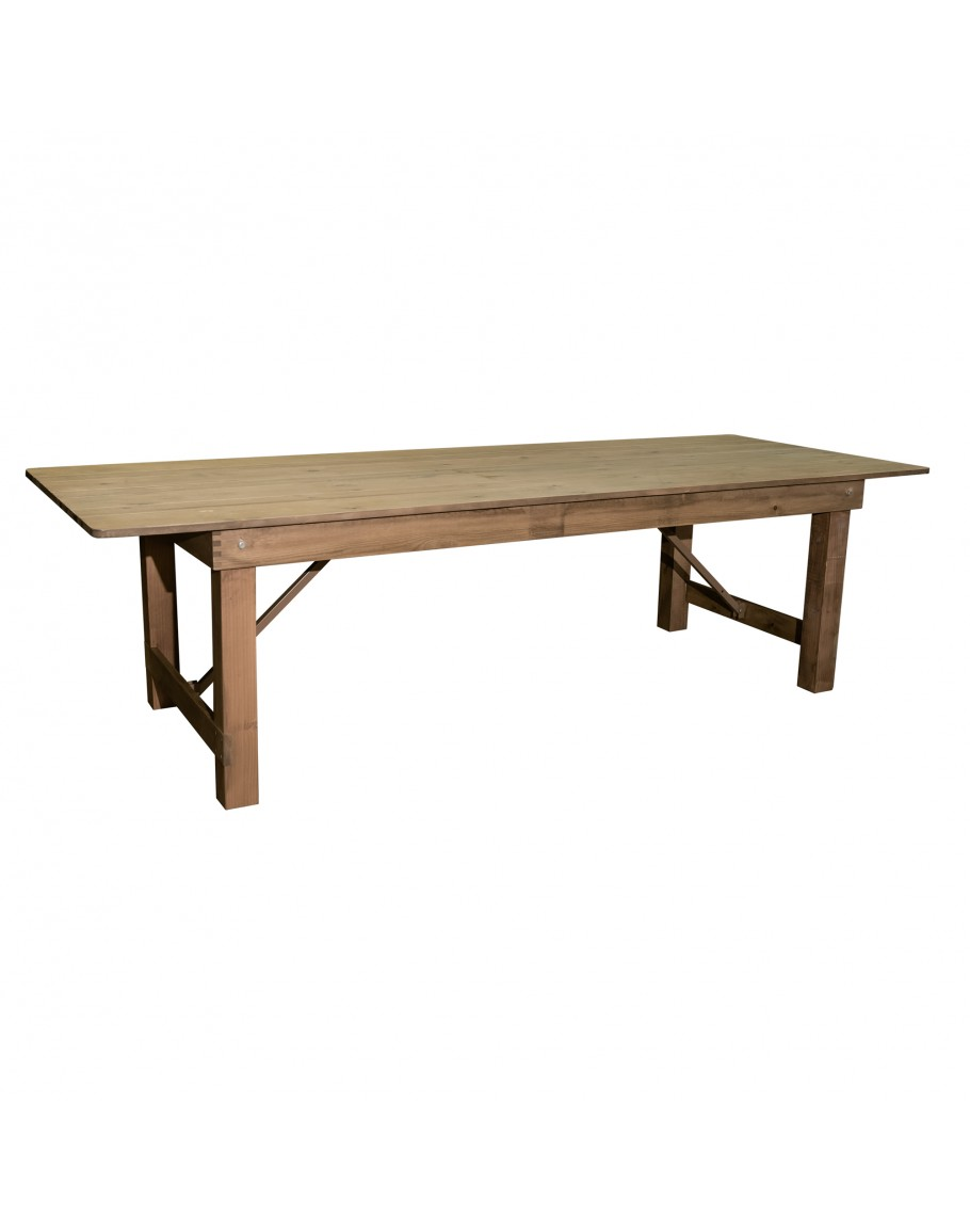 X Banquet Pine Wood Farm Table Rustic - Natural wood farm table