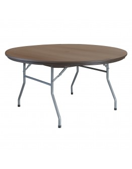 60 Inch Rhino™ Round Resin Folding Table, Brown