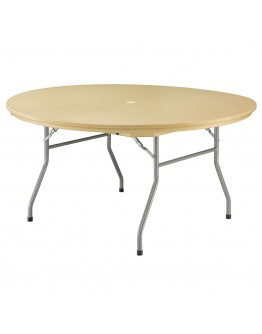 60 Inch Rhino™ Round Resin Folding Table, Tan