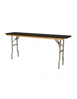 6 Foot Conference Wood Folding Table, Black Laminate, Vinyl Edging